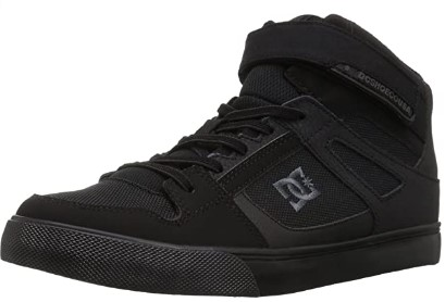 DC Kid's Pure High Top EV Skate Shoes with Ankle Strap and Elastic Laces