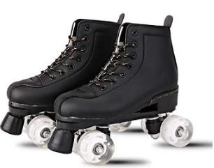 XUDREZ Roller Skates Adjustable Soft Leather High-top Roller Skates Four