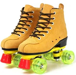 KYIS Cowhide Roller Skates for Women and Men High-Top Shoes Double-Row Design