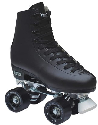 Chicago Skates Chicago Men's Premium Leather Lined Rink Roller Skate - Classic Black Quad Skates